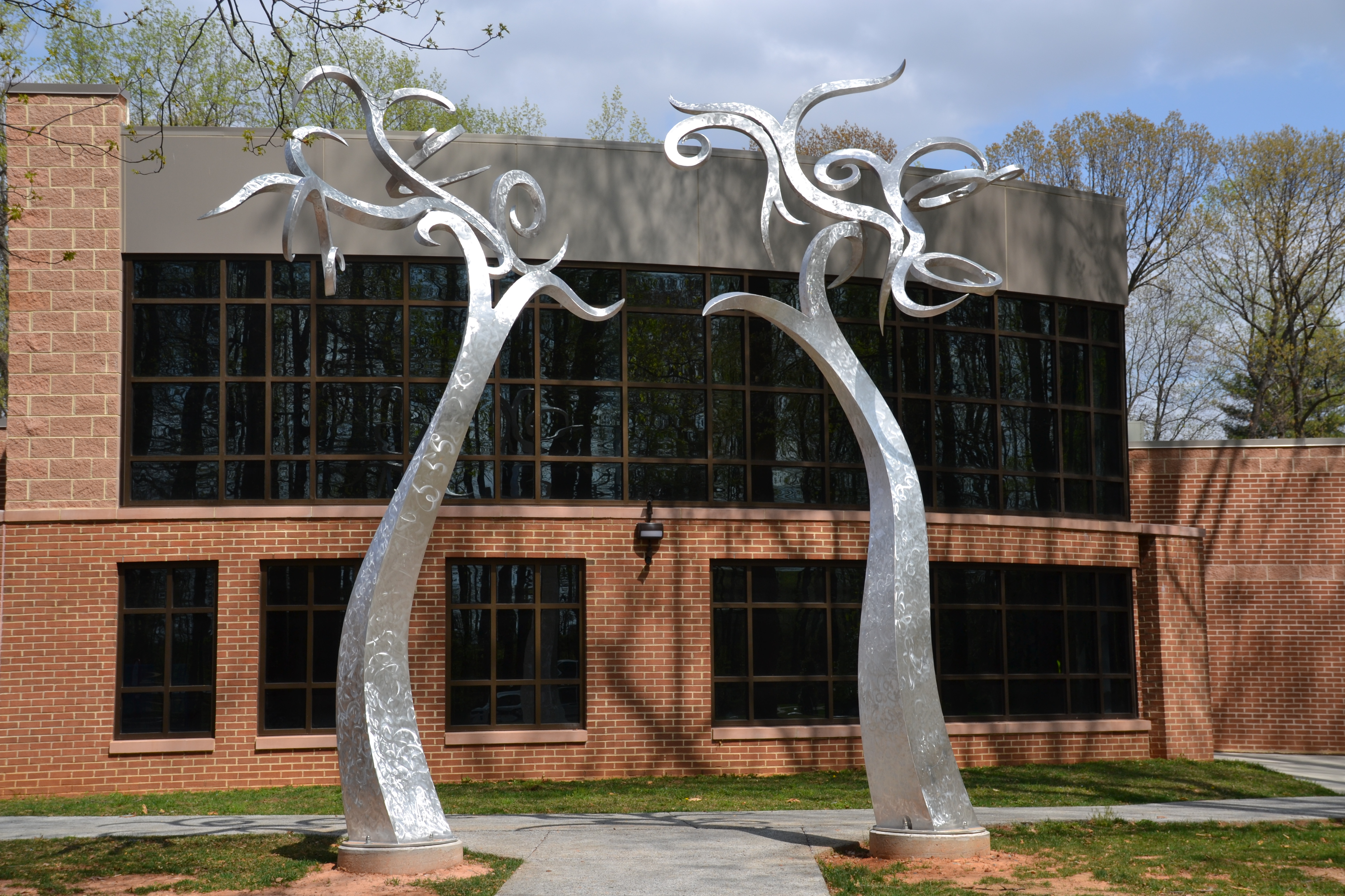 "Metal Sculpture titled ""Flourish"" by Harry McDaniel installed at the Rockville Senior Center"