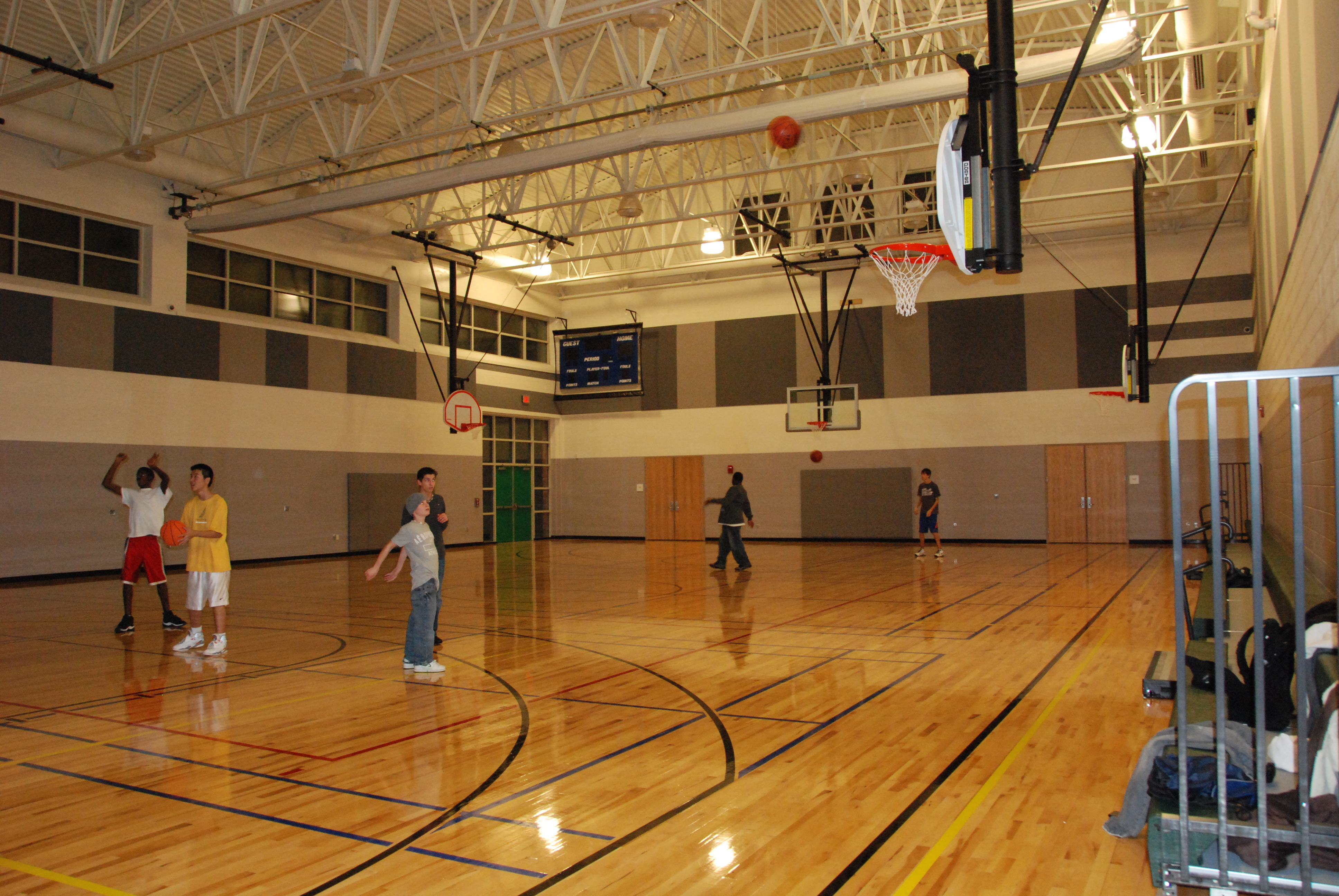 Kids Playing Basketball in Thomas Farm Community Center Gym