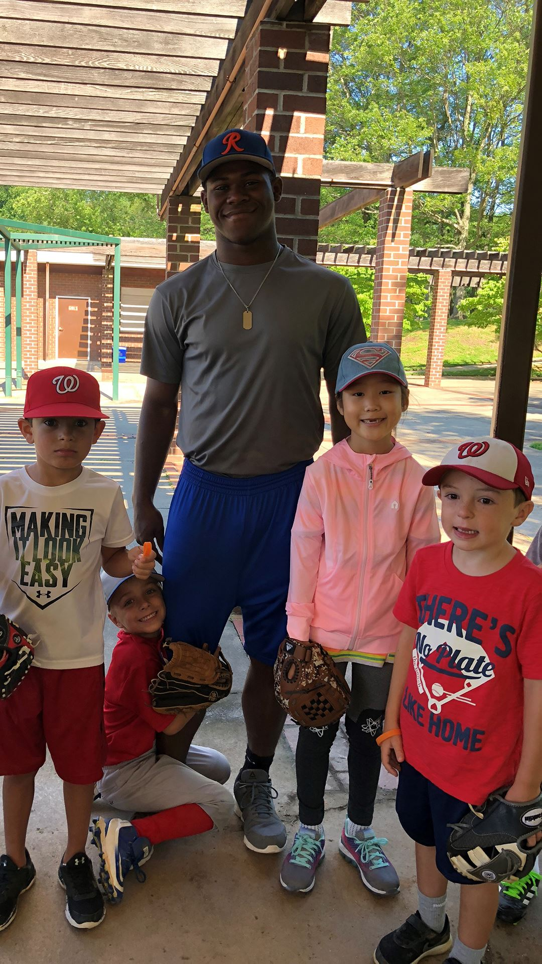 Camp kids with baseball