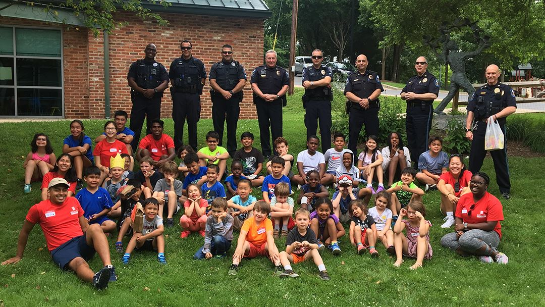 Camp kids with Police