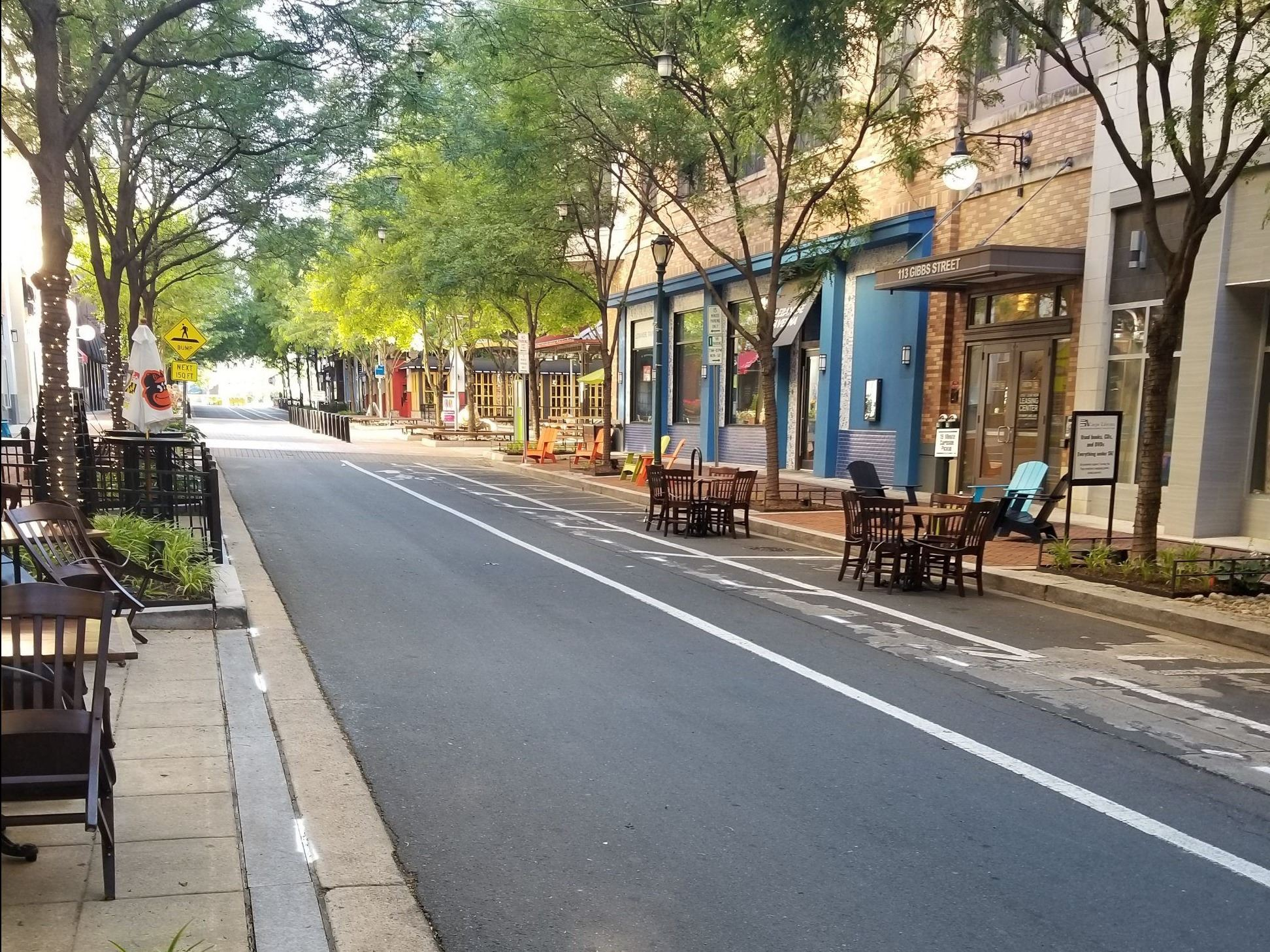 Gibbs Street with Outdoor Dining Tables